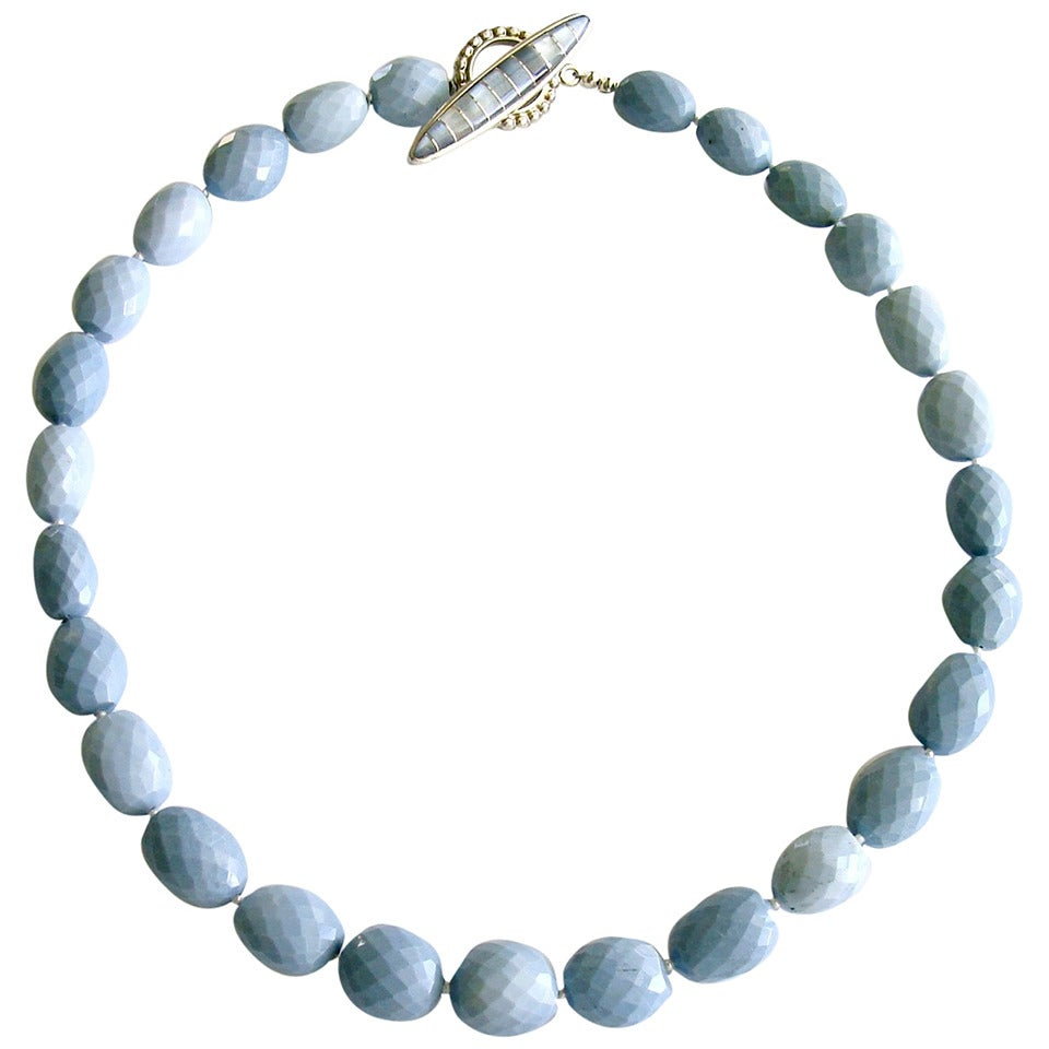 Blue Opal Mother of Pearl Inlay Choker Necklace For Sale