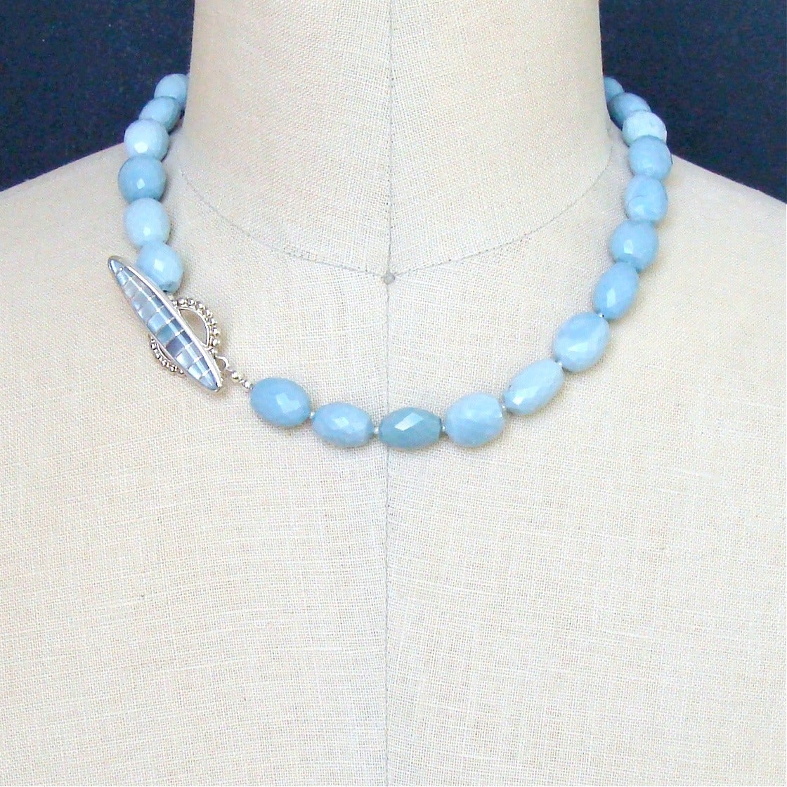Blue Opal Mother of Pearl Inlay Choker Necklace 5