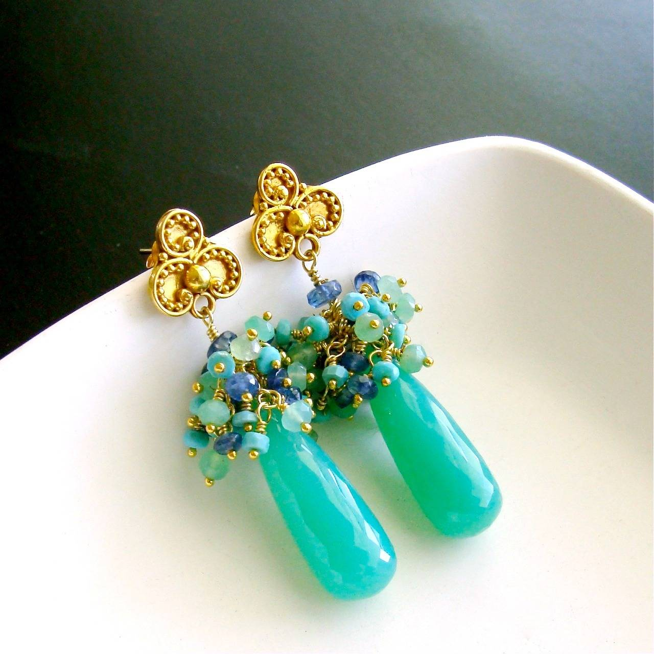 Chrysoprase Sleeping Beauty Turquoise Kyanite Cluster Post Style Earrings 2