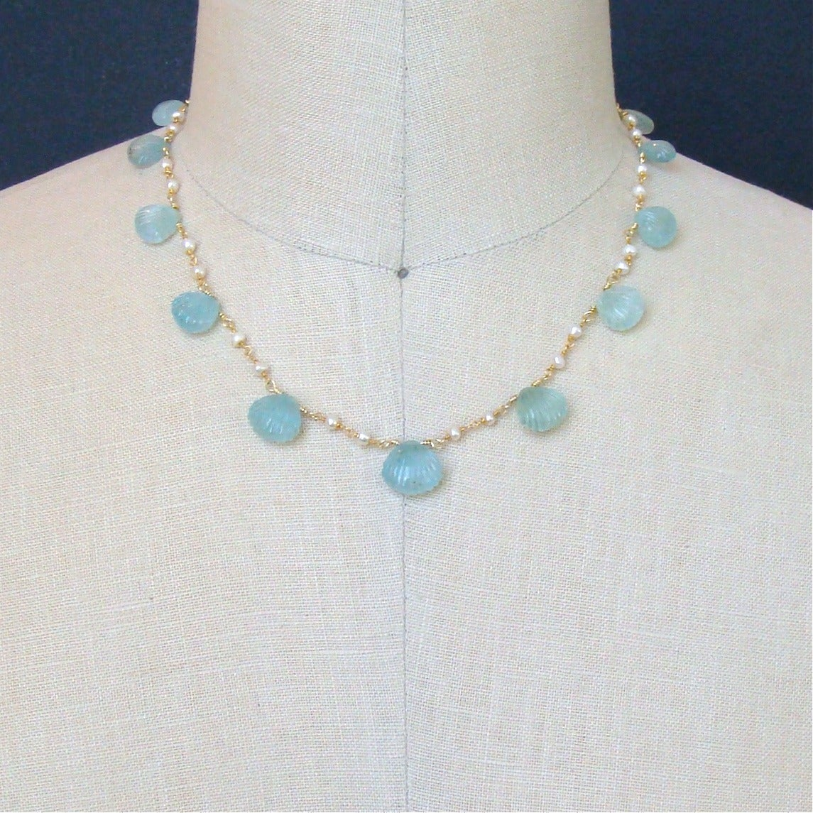 Carved Aquamarine Shell Freshwater Seed Pearl Choker Necklace 4