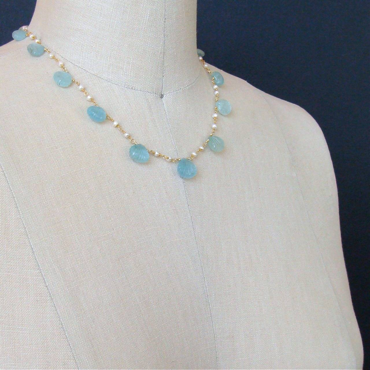 Carved Aquamarine Shell Freshwater Seed Pearl Choker Necklace 5