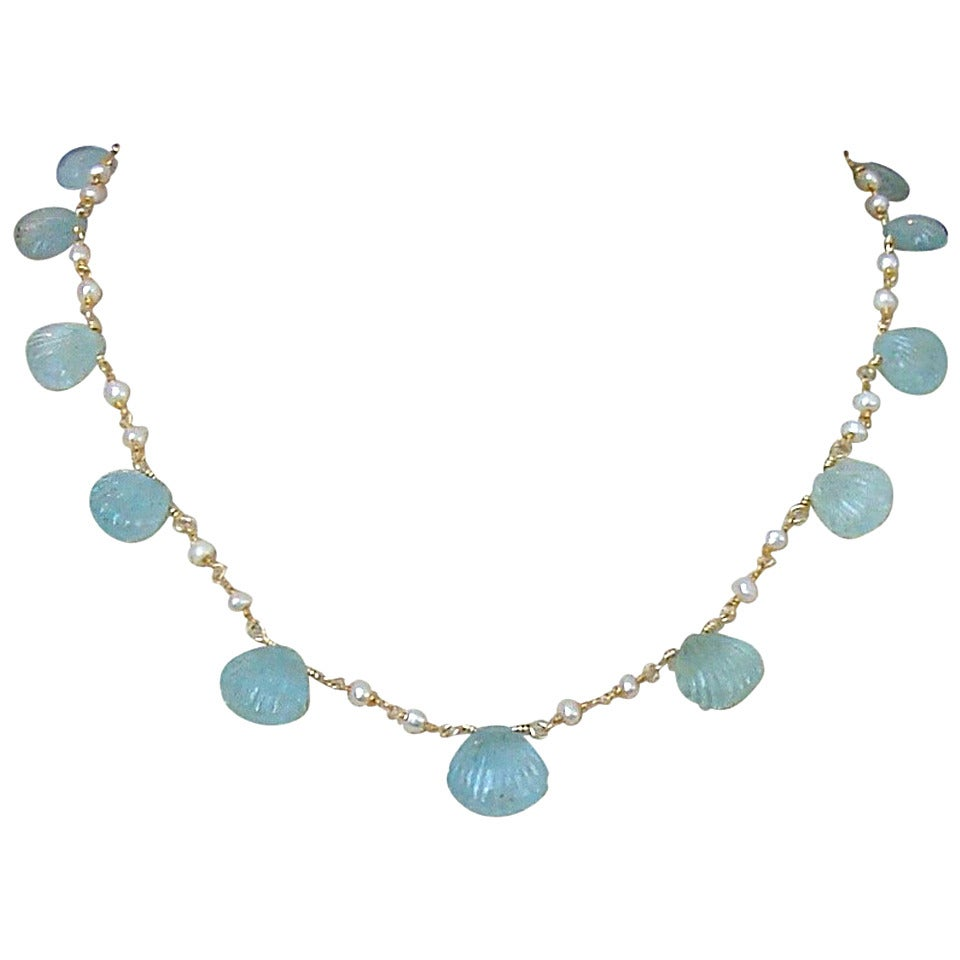 Carved Aquamarine Shell Freshwater Seed Pearl Choker Necklace 1