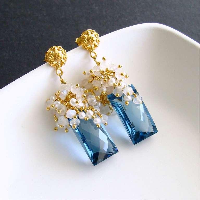 London Blue Topaz Baguettes Moonstone Pearls Cluster Earrings 2