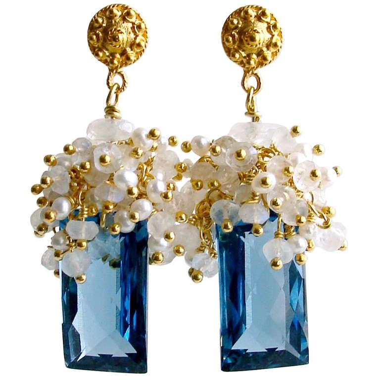 London Blue Topaz Baguettes Moonstone Pearls Cluster Earrings 1