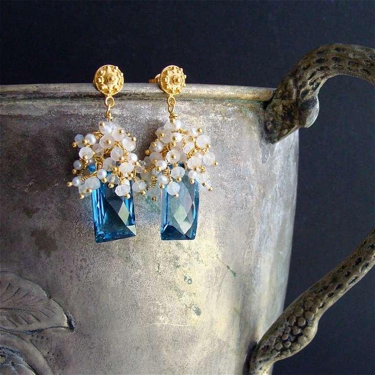London Blue Topaz Baguettes Moonstone Pearls Cluster Earrings 3