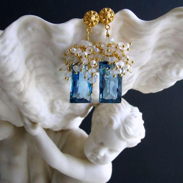 London Blue Topaz Baguettes Moonstone Pearls Cluster Earrings 4