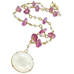 Monogrammed Chinese Game Counter Pink Topaz Pearl Necklace