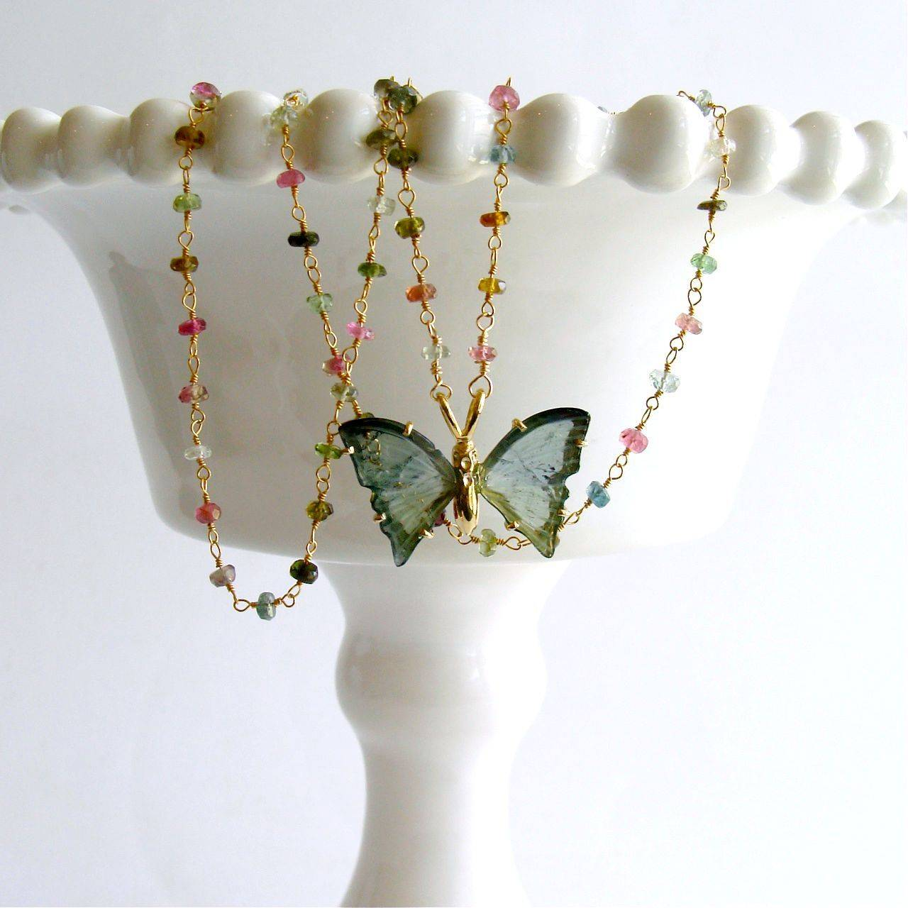 Blue Green Tourmaline Butterfly Necklace 3