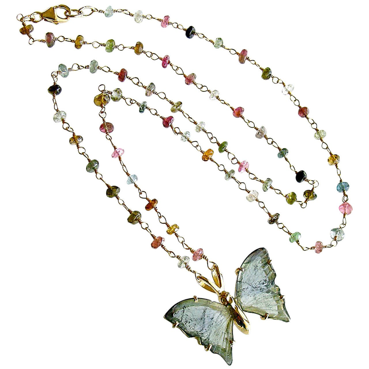 Blue Green Tourmaline Butterfly Necklace 1