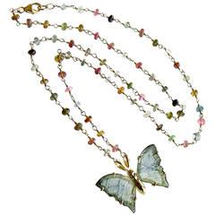 Blue Green Tourmaline Butterfly Necklace