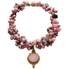 Rhodochrosite Garnet Pearls Choker Necklace Druzy Pendant