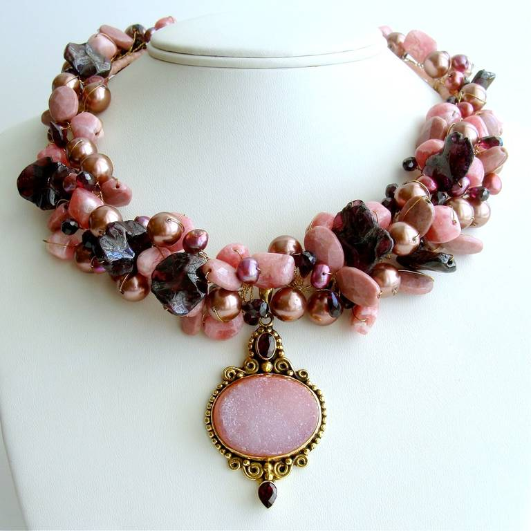 Rachelle Necklace -  An explosion of pink, woodrose and garnet reds is exhibited by this cacophony of texture and color in this elegant cluster choker necklace.  Each of the hundreds of gemstones has been hand-spun on wire to create this rich and