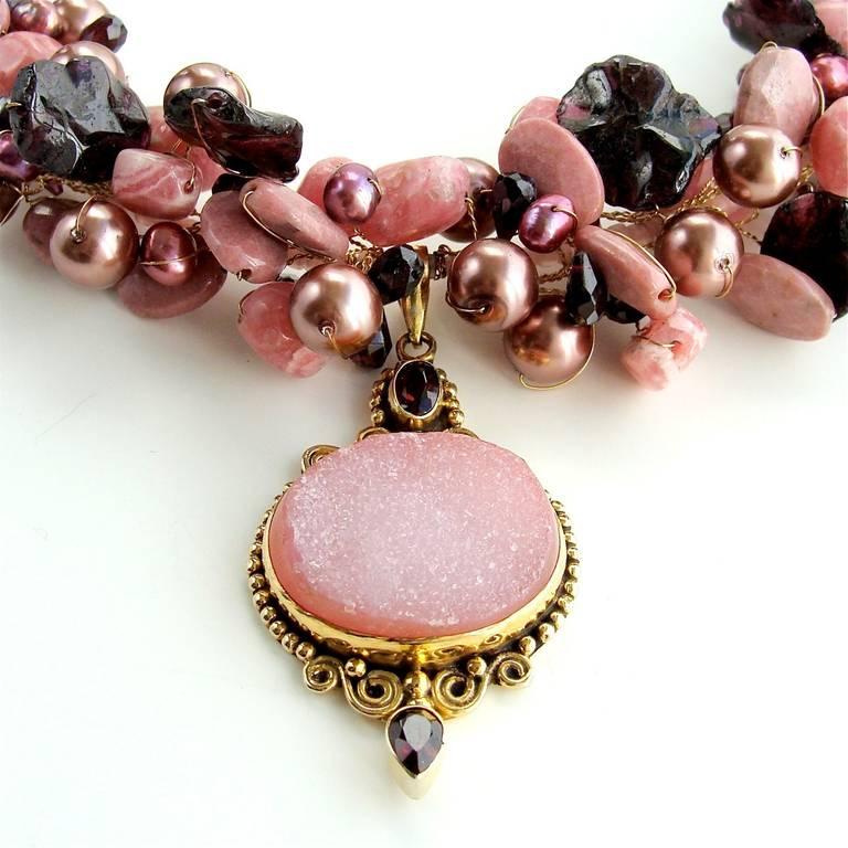 Women's Rhodochrosite Garnet Pearls Choker Necklace Druzy Pendant For Sale