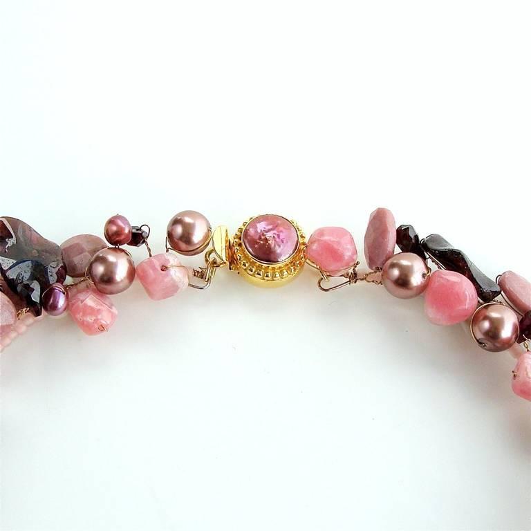 Rhodochrosite Garnet Pearls Choker Necklace Druzy Pendant For Sale 1