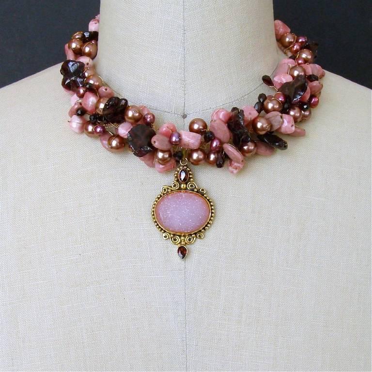 Rhodochrosite Garnet Pearls Choker Necklace Druzy Pendant For Sale 2