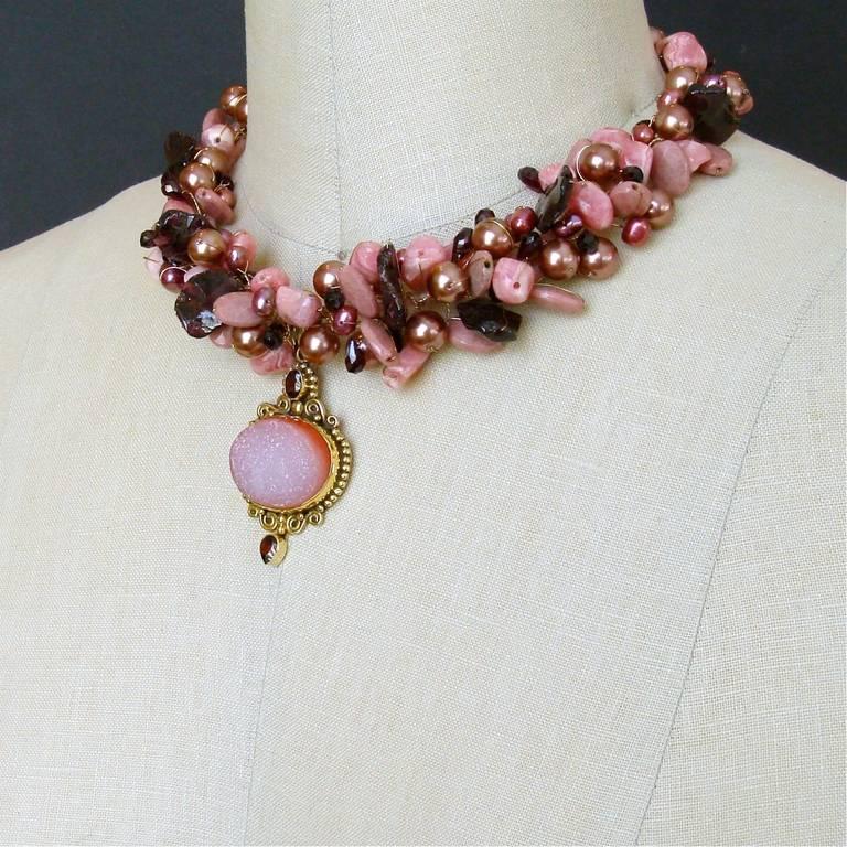 Rhodochrosite Garnet Pearls Choker Necklace Druzy Pendant For Sale 3