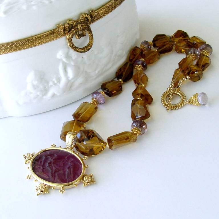 Faceted Citrine Ametrine Intaglio Choker Necklace 5