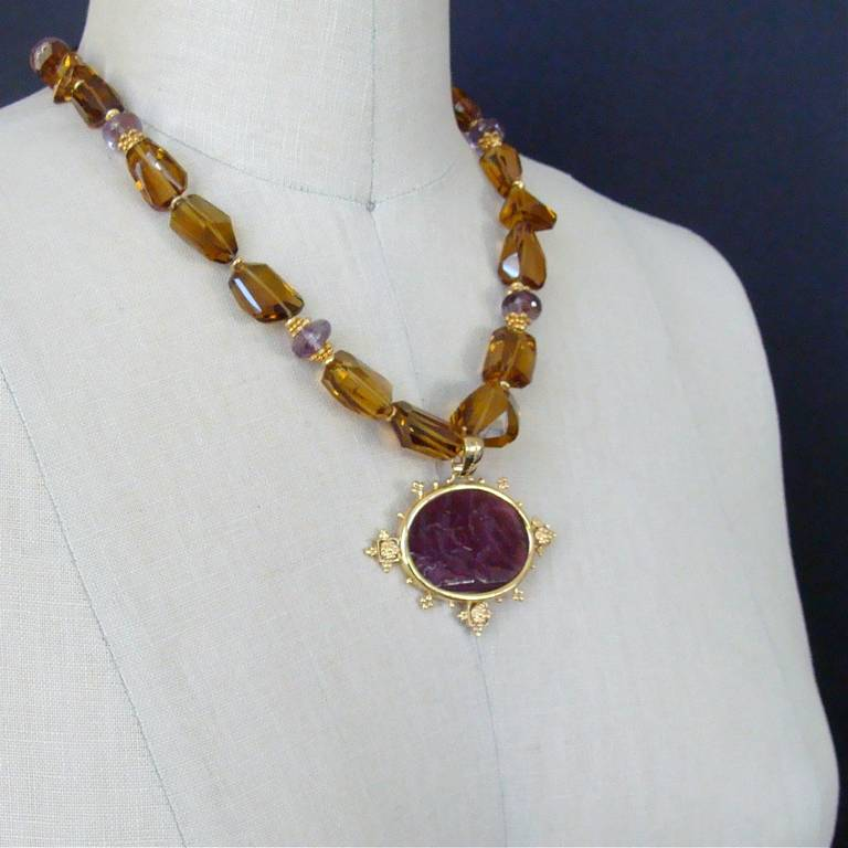 Faceted Citrine Ametrine Intaglio Choker Necklace 6
