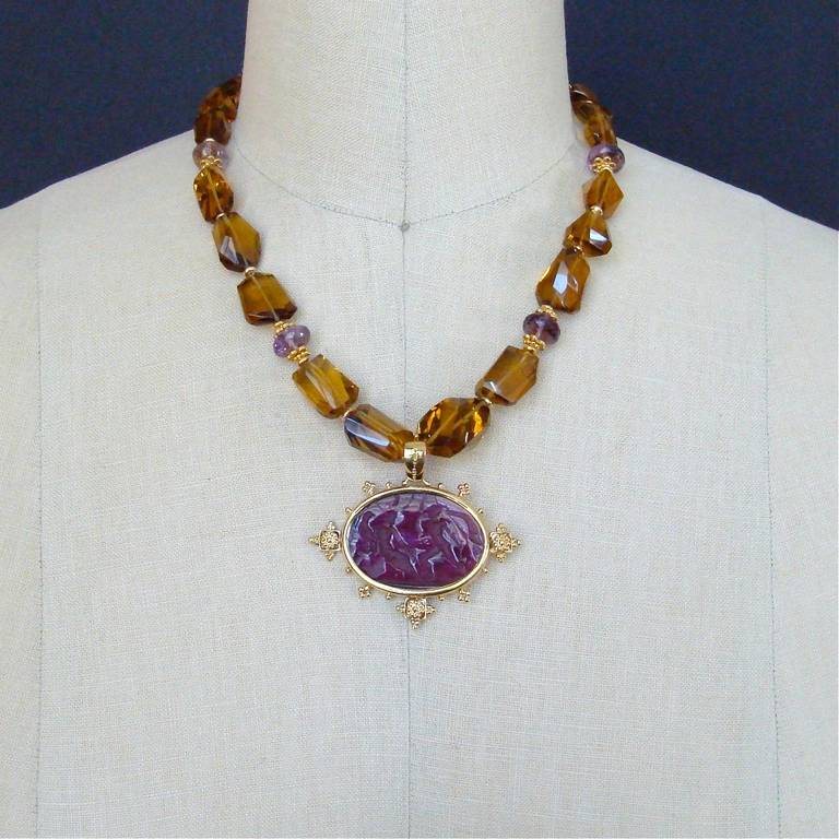 Faceted Citrine Ametrine Intaglio Choker Necklace 7