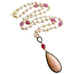 Peruvian Pink Opal Pink Sapphire Diamond Necklace