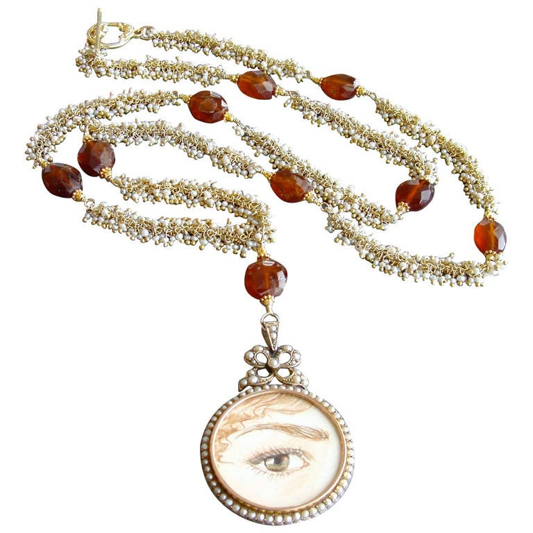 Victorian Pearl Mourning Locket Seed Pearl Hessonite Garnet Lover's Eye Necklace 1