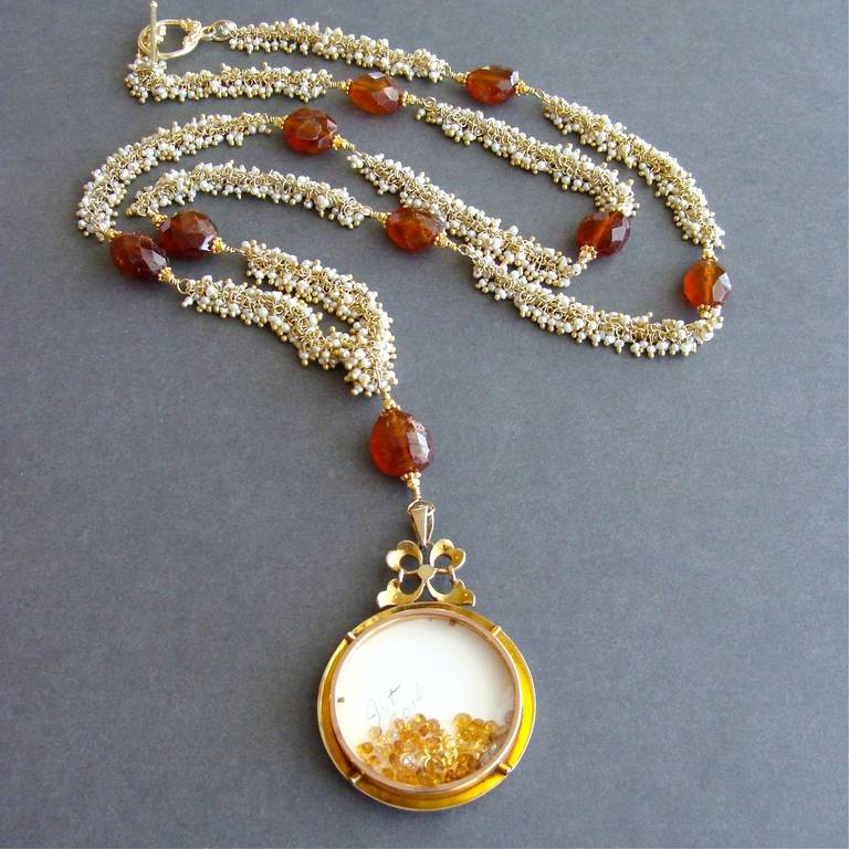 Victorian Pearl Mourning Locket Seed Pearl Hessonite Garnet Lover's Eye Necklace 2