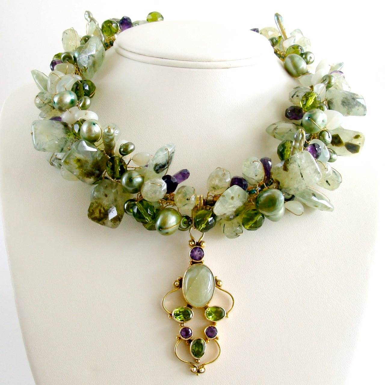Peridot Grossular Garnet Choker Necklace - Amethyst Pearls New Jade 2