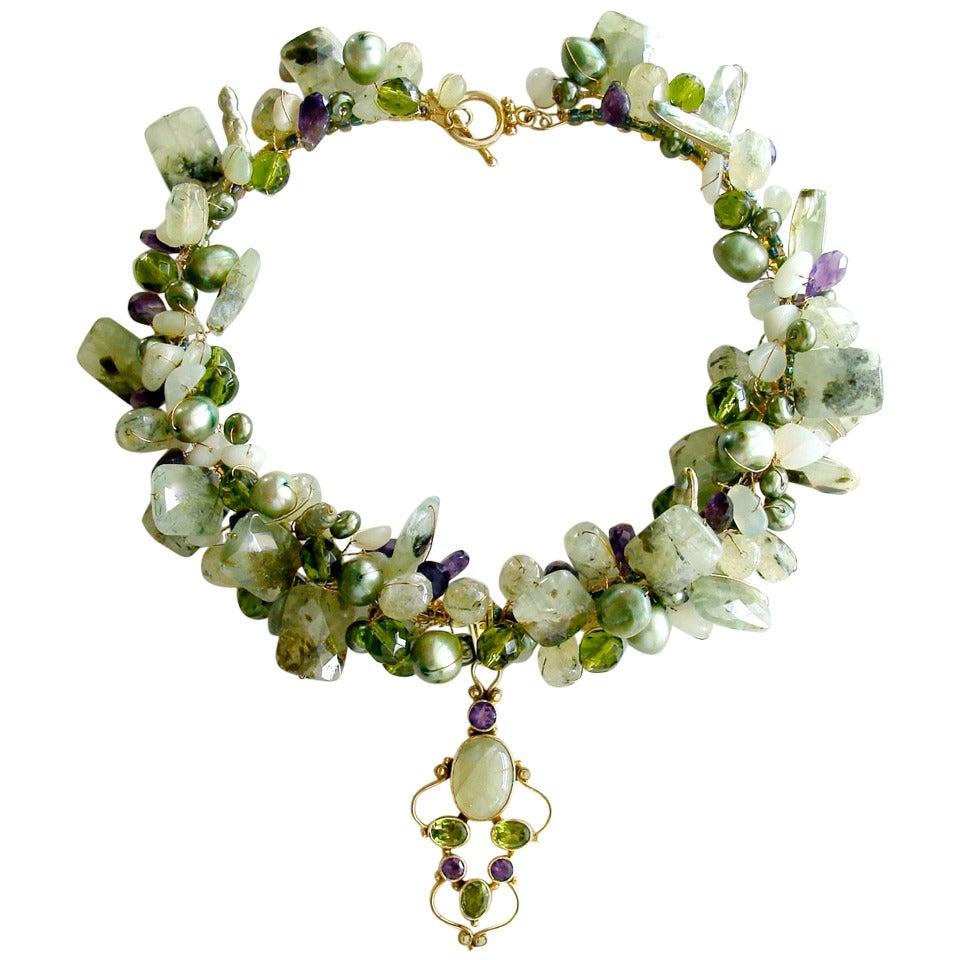 Peridot Grossular Garnet Choker Necklace - Amethyst Pearls New Jade For Sale