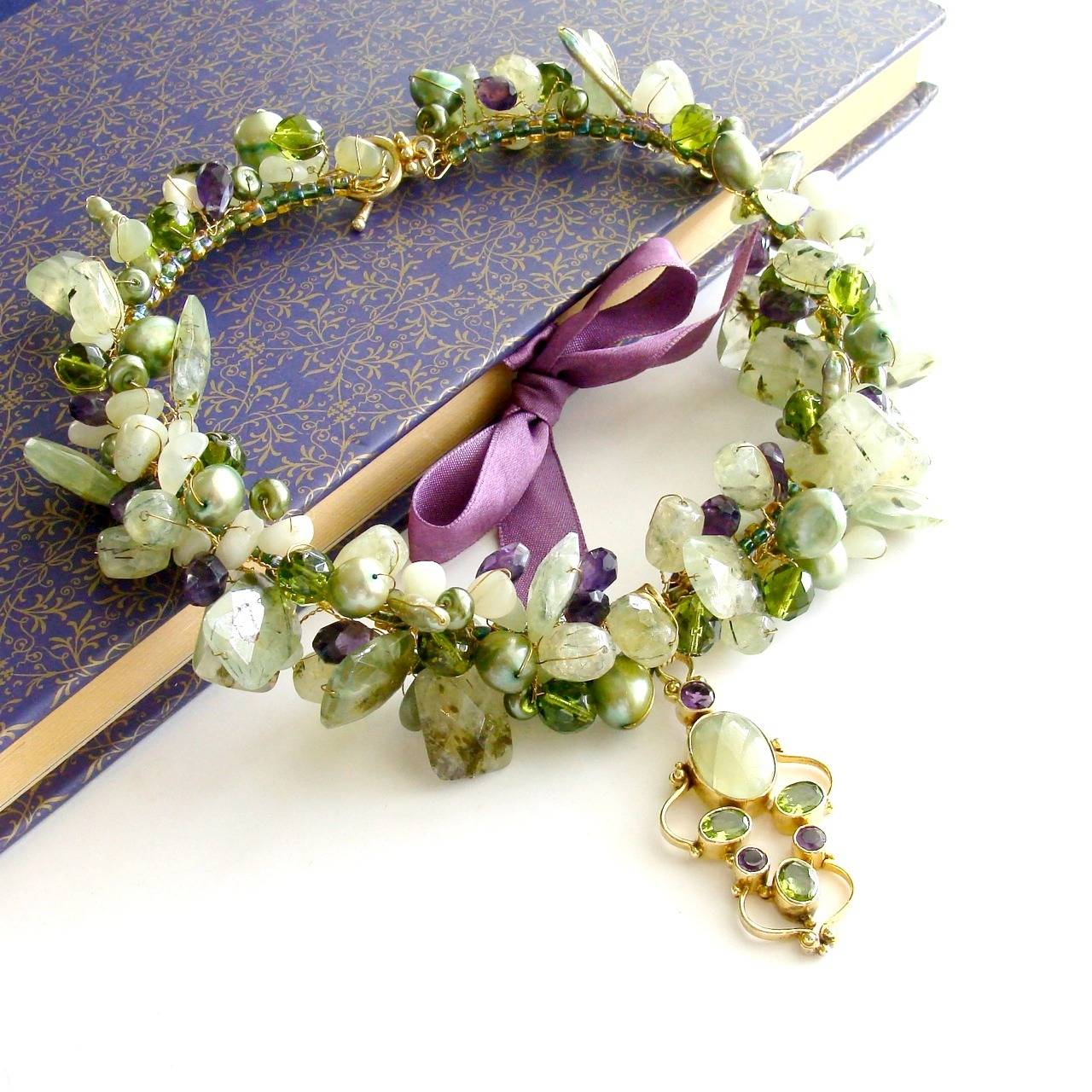 Peridot Grossular Garnet Choker Necklace - Amethyst Pearls New Jade 3