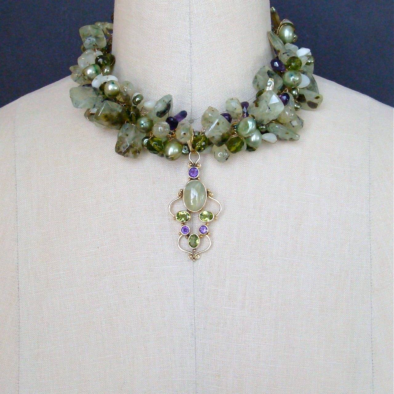 Peridot Grossular Garnet Choker Necklace - Amethyst Pearls New Jade 5