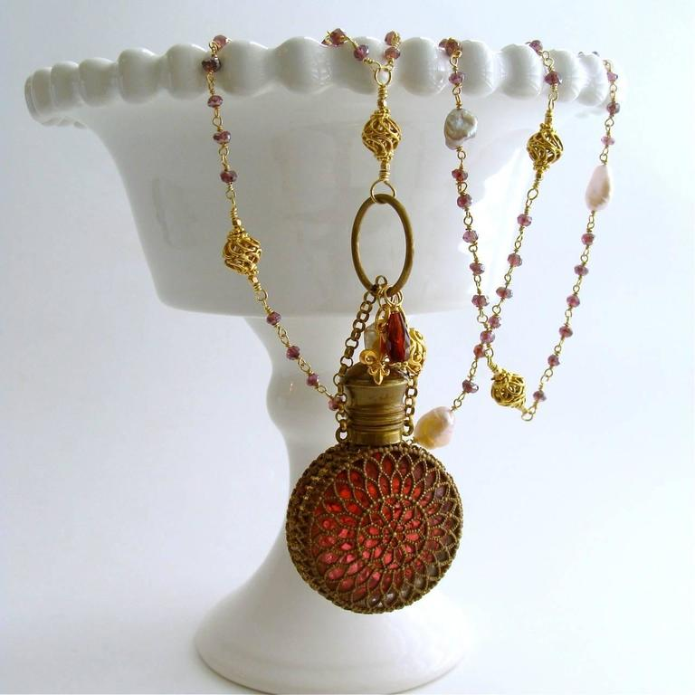 Mystic Garnet Keshi Pearls Cranberry Glass Chatelaine Scent Bottle Necklace 2