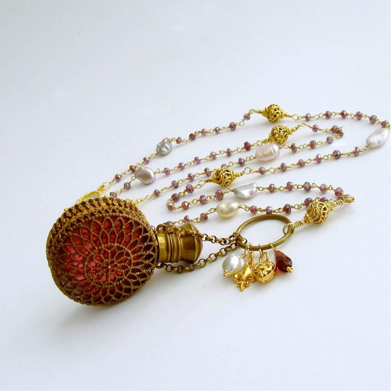 Mystic Garnet Keshi Pearls Cranberry Glass Chatelaine Scent Bottle Necklace 3