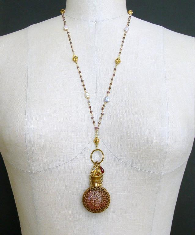 Mystic Garnet Keshi Pearls Cranberry Glass Chatelaine Scent Bottle Necklace 5