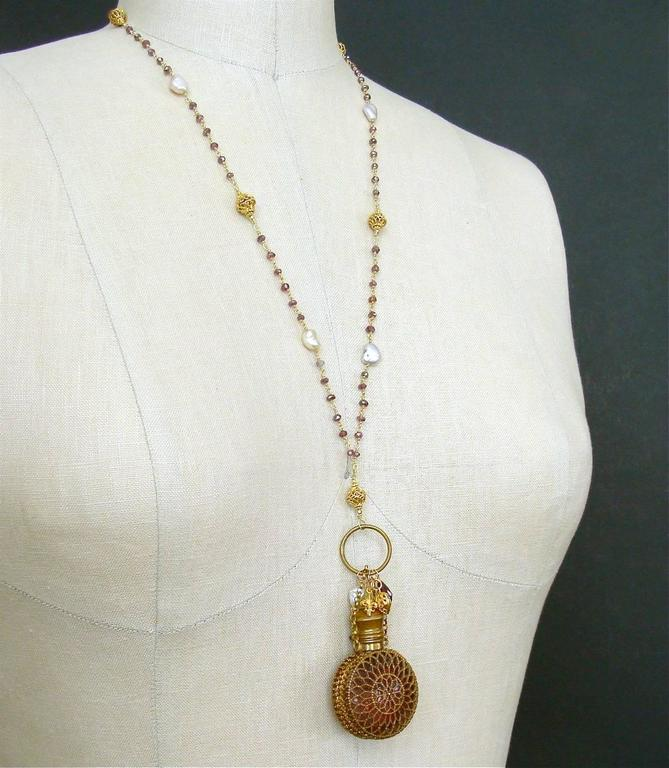 Mystic Garnet Keshi Pearls Cranberry Glass Chatelaine Scent Bottle Necklace 6