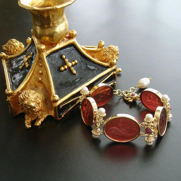 Venetian Glass Intaglios Pearl Ruby Silver Vermeil Bracelet 3