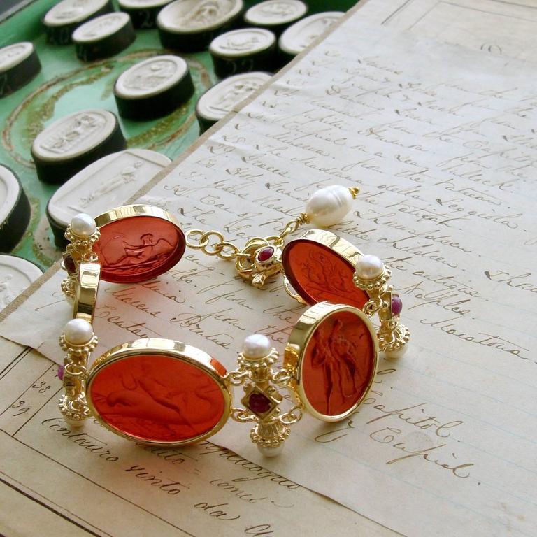 Venetian Glass Intaglios Pearl Ruby Silver Vermeil Bracelet 4