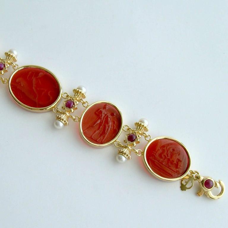 Venetian Glass Intaglios Pearl Ruby Silver Vermeil Bracelet 5