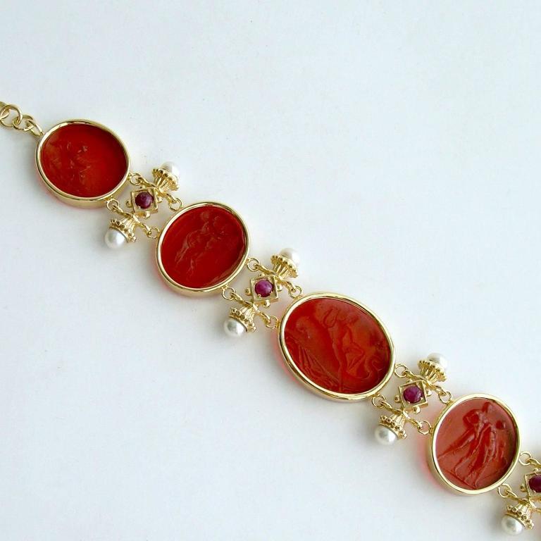 Venetian Glass Intaglios Pearl Ruby Silver Vermeil Bracelet 6
