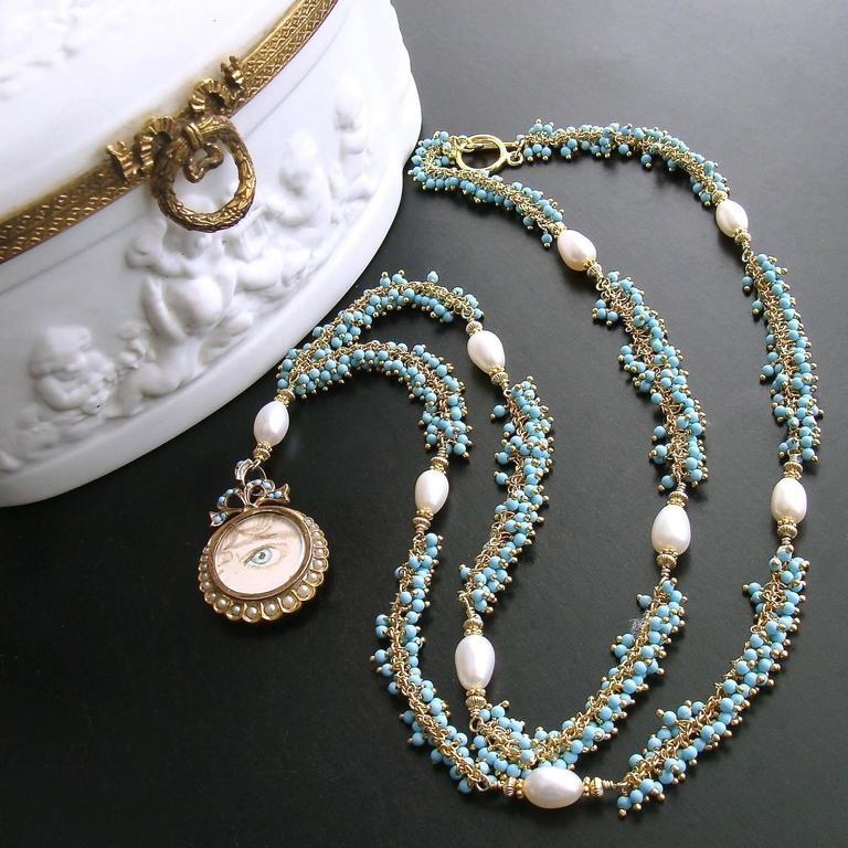 Georgian Lover's Eye Victorian Locket Turquoise Pearls Gold Necklace For Sale