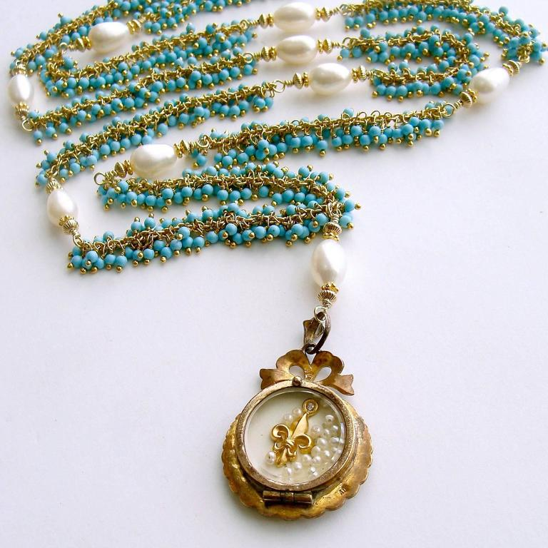Women's Lover's Eye Victorian Locket Turquoise Pearls Gold Necklace For Sale