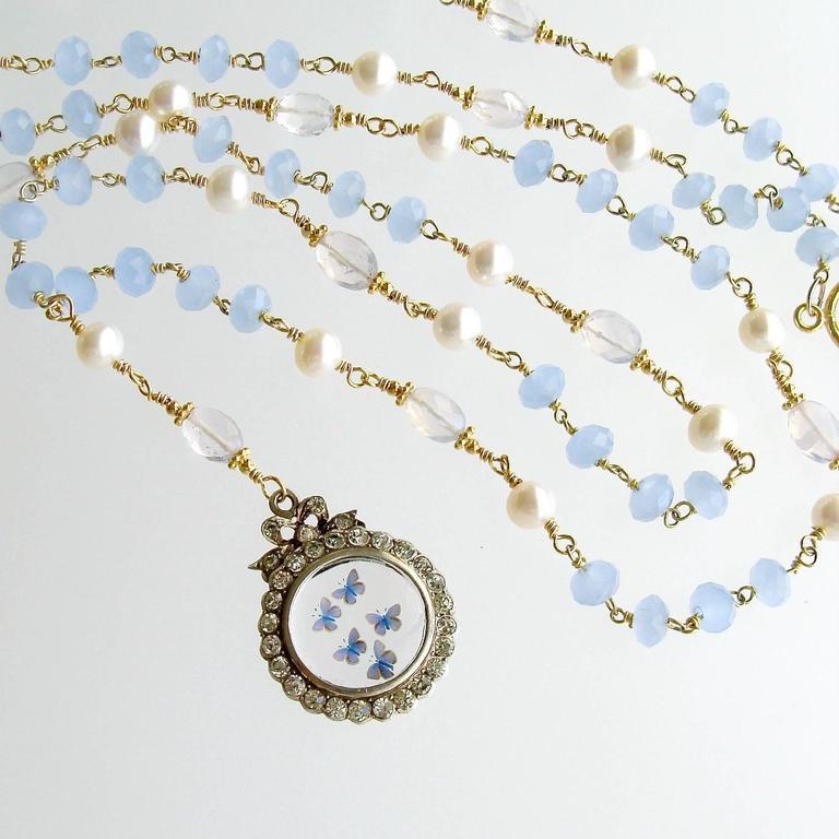 Butterfly Kaleidoscope Victorian Locket Blue Chalcedony Scorolite Necklace  In As New Condition For Sale In Scottsdale, AZ