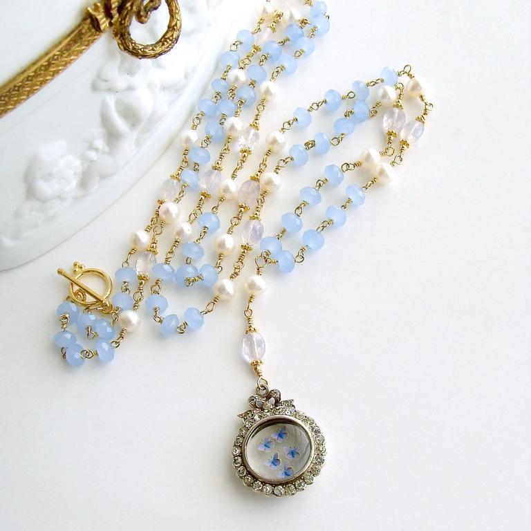 Women's Butterfly Kaleidoscope Victorian Locket Blue Chalcedony Scorolite Necklace  For Sale