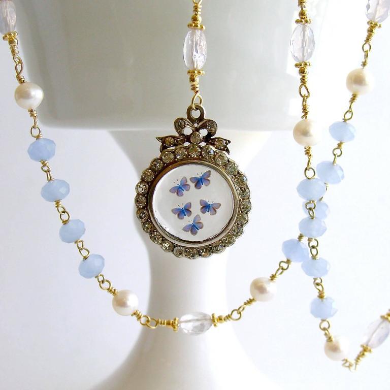 Butterfly Kaleidoscope Victorian Locket Blue Chalcedony Scorolite Necklace  For Sale 1