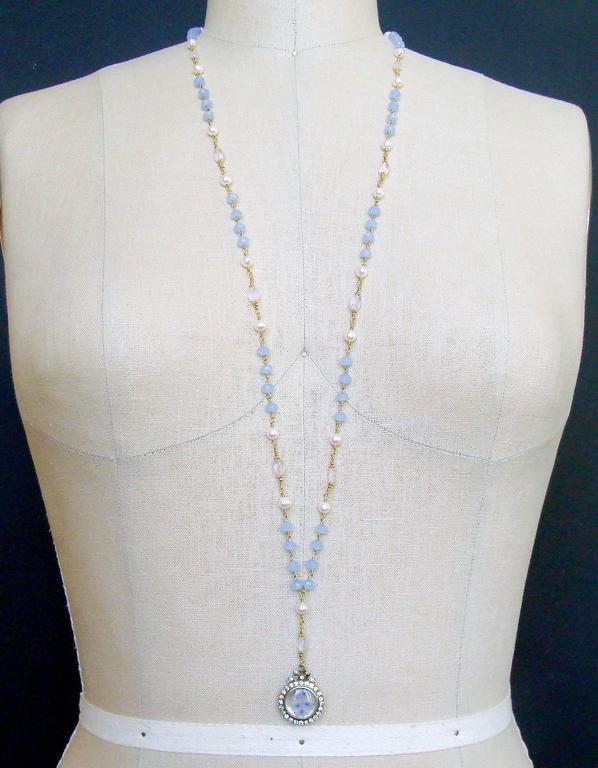 Butterfly Kaleidoscope Victorian Locket Blue Chalcedony Scorolite Necklace  For Sale 2