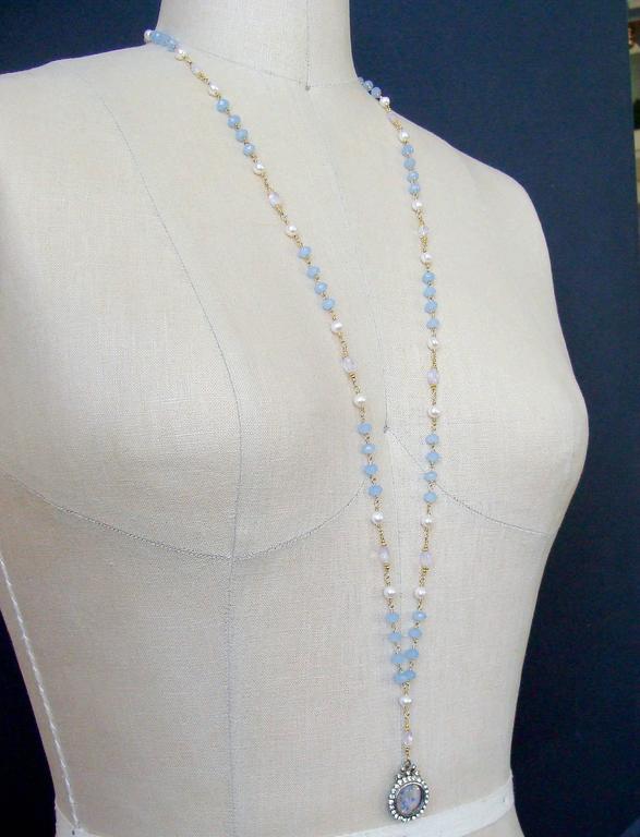 Butterfly Kaleidoscope Victorian Locket Blue Chalcedony Scorolite Necklace  For Sale 3