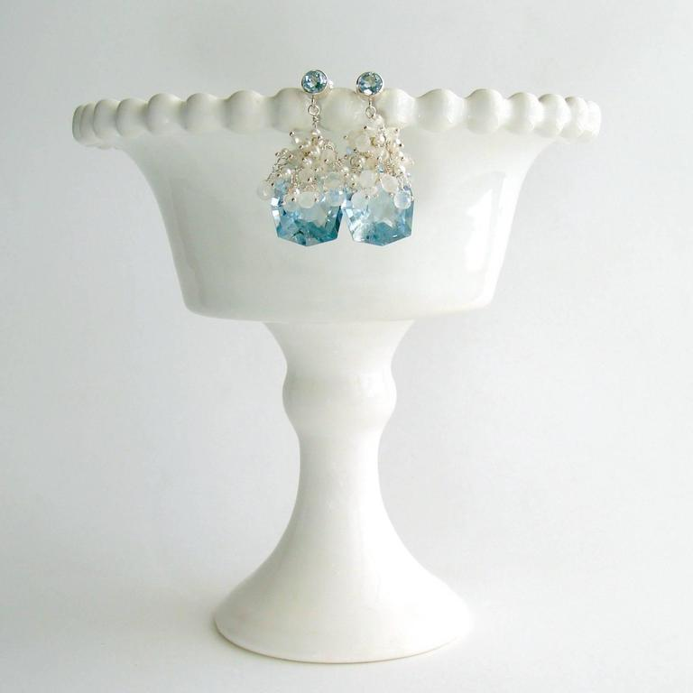 Artisan Fancy Cut Blue Topaz Seed Pearl Moonstone Cluster Earrings - Diana IV Earrings For Sale