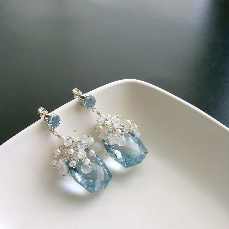 Fancy Cut Blue Topaz Seed Pearl Moonstone Cluster Earrings - Diana IV Earrings 4