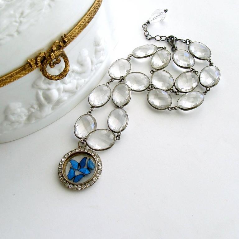 Victorian Butterfly Kaleidoscope Silver Paste Locket Rock Crystal Necklace 2