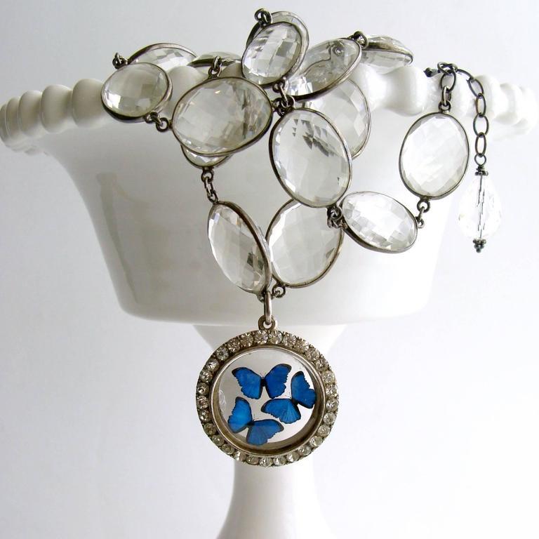 Victorian Butterfly Kaleidoscope Silver Paste Locket Rock Crystal Necklace 4