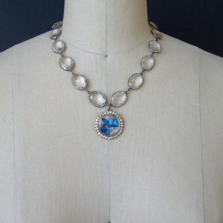 Victorian Butterfly Kaleidoscope Silver Paste Locket Rock Crystal Necklace 5